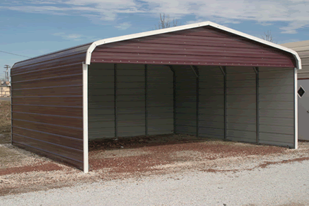 3 sides covered metal buildings carports aluminum garages for Covered car port