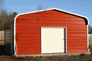 Metal Building Standard Garage Steel Garage Red with Roll up Door in Front.