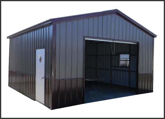 Metal Building Two Tone Brown On Steel Garage